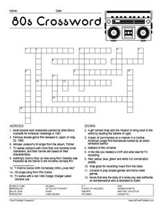 Crush image for free printable themed crossword puzzles