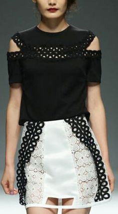 Cut-Out Black & White Contrasting Dress