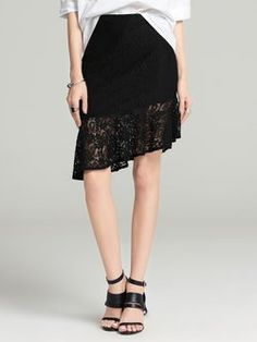 VC  Black Flounce Guipure lace Elegant Asymmetric Midi Skirt   ||| StyleWe |||