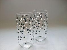 Black White Glass Tumblers, 2 Vintage Black & White Square Boxes Confetti Beverage Drink Glasses, Checker Print