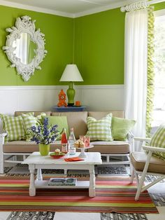 Green and white living room by angelique