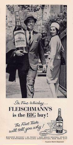 Fleischmann's whiskey, 1962   BIG BOOZE BOTTLE BEFORE COSTCO!!