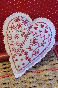 Pretty Redwork Sachet Heart Sampler Filled With Lavender
