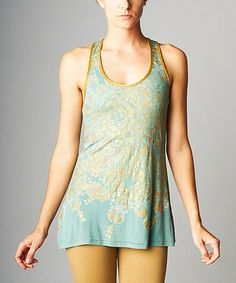 Look what I found on #zulily! Teal & Gold Violin Tank by Nuvula #zulilyfinds