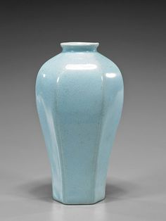 Chinese Faceted Porcelain Meiping Vase of faceted baluster form with flaring lip, typical crackle glaze; H: 8 1/4""
