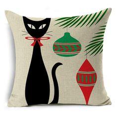 LOVE Beatnik Kitty Christmas Throw Pillow - LIMITED EDITION