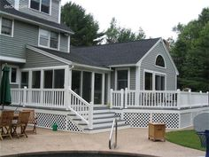 love the gray decking with the white rails & trim.  Reminds me of the beach!
