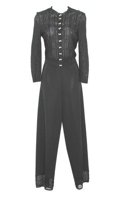 JOHN GALLIANO JEWEL BUTTONED BLACK KNIT PANT SUIT S MADE IN ITALY in Clothing, Shoes & Accessories | eBay