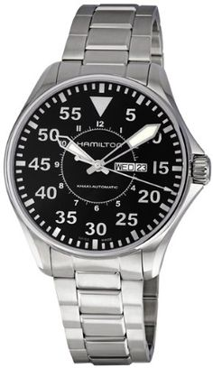Hamilton Mens H64715135 Khaki King Pilot Black Day Date Dial Watch -- Check out the image by visiting the link.