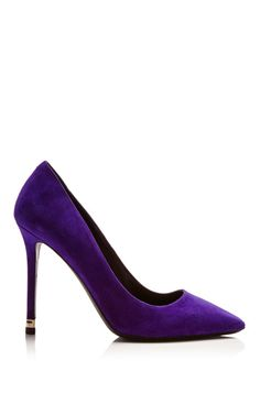 Purple Suede Pump with Metal Heel by Nicholas Kirkwood for Preorder on Moda Operandi