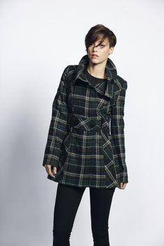 £65 Liquorish Green And Navy Formal Coat With Oversized Collar | Liquorish Clothing www.liquorishonline.com