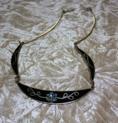 Vintage Black Mother Pearl Silver Necklace. $75,00, via Etsy.