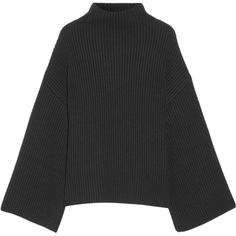 Rosetta Getty Asymmetric ribbed wool and cashmere-blend turtleneck... ($1,290) ❤ liked on Polyvore featuring tops, sweaters, ribbed top, wool turtleneck, asymmetrical hem top, woolen sweater and turtleneck top