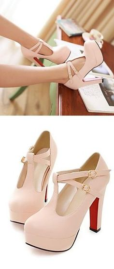 Blush Mary Jane Heels ♥ L.O.V.E. I don't think these look great off but on I love them