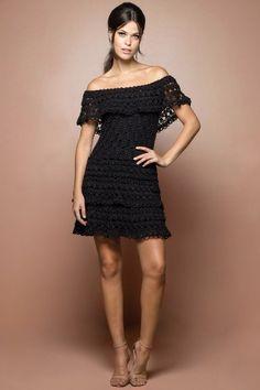 Vestido Crochet Martini Preto - Vanessa Montoro - vanessamontoro