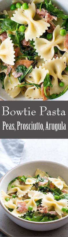 A lighter version of bowtie pasta with peas and prosciutto, no cream, but instead tossed with Parmesan, olive oil, and arugula. So good! And ready in 30 minutes.