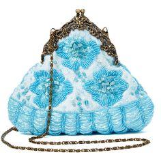 J & X International Light Blue Beaded Purse ($15) ❤ liked on Polyvore featuring bags, handbags, man bag, kiss-lock handbags, light blue bag, beaded hand bags and vintage style handbags