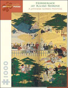 Horserace at Kamo Shrine: A Japanese Screen Painting Jigsaw Puzzle Kamo Shrine, Japanese Screen, Asian Art Museum, Western World, Japanese Painting, Large Painting, Jigsaw Puzzles, Art Pieces, Artist