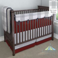 Crib bedding in Solid Marsala Red, Solid Navy, Cloud Gray Arrow Stripe, Large Gray Buffalo Check. Created using the Nursery Designer® by Carousel Designs where you mix and match from hundreds of fabrics to create your own unique baby bedding. #carouseldesigns