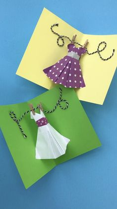 Ooooh more POP UP Card fun for Mother's Day or Prom Day. or make these as gorgeos Pop Up Birthday Cards for a fashionista! This Origami Dress is easy to learn how to make. and quick to convert into a DIY Pop Up Card!Pop Up Dress Card für den Muttert Origami Dress, Origami Ball, Origami Butterfly, Cool Birthday Cards, Birthday Crafts, Birthday Box, Origami Birthday Card, Birthday Ideas, Paper Crafts Origami
