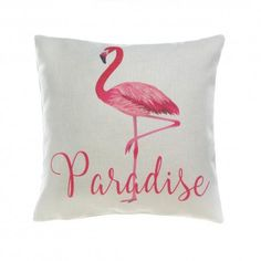 """Your paradise awaits! This fantastic throw pillow delivers comfort and that breezy feeling of paradise found. It features a white background with a vibrant pink flamingo and """"Paradise"""" in pretty script."""