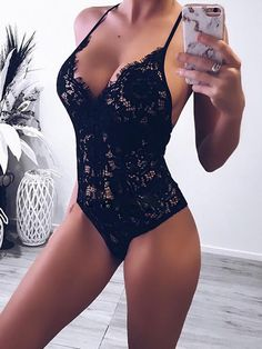 Sexy Body Clubwear Bodysuit Women Lace V-Neck Skinny Rompers Solid Bodycon Backless Rompers Feminino Overalls-geekbuyig Sexy Lingerie, Lingerie Bonita, Lingerie Design, Jolie Lingerie, Lingerie Outfits, Bodysuit Lingerie, Luxury Lingerie, French Lingerie, Lingerie Dress