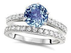 Original Star K(tm) Round 7mm Simulated Aquamarine Engagement Wedding Ring - Aquamarine, Engagement, ORIGINAL, Ring, Round, Simulated, Star, Wedding