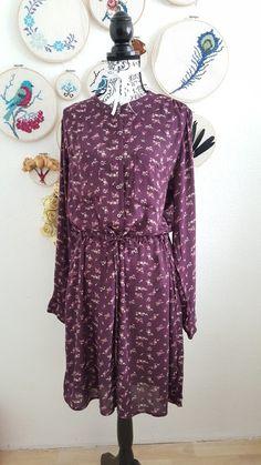 Blusenkleid Hemdkleid kleid kurz Blumenmuster lila knielang von H