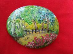 Galet peint peinture paysage miniature à l'huile Pierre Multicolore : Peintures par ricochet