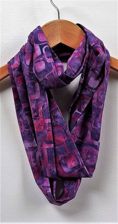 Purple Retro Tile Infinity Scarf 4 Wide 74 Loop