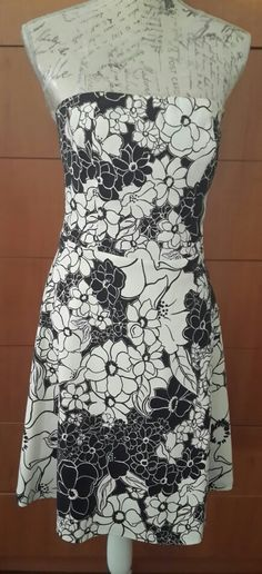 Black and White floral boobtube dress