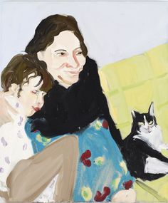 Self-Portrait with Esme and Spot, 2011 Oil on canvas, 55 x 46 x 2.2 cm 21 5/8 x 18 1/8 x 7/8 in
