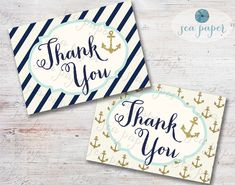 Printable Nautical Thank You Card for Baby Shower, Bridal Shower or Wedding. Navy Stripes, & Gold Anchors. INSTANT DOWNLOAD on Etsy, $7.00