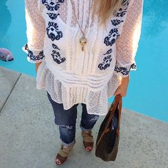Happy President's Day! Celebrating my day off (and the founders of our country) in a cute top from Free People and boyfriend jeans from Ann Taylor. Finished off with a great pair of booties from Madden Girl, a vintage shopper from Louis Vuitton and a wonderful vintage necklace. Found @savers_thrift @ocgoodwill #assistanceleagueoffullerton #thriftscoring #thriftstyle #whatimwearing #freepeople #anntaylor #maddengirl #stevemadden #louisvuitton #vintage
