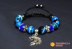 Dark blue agate Agate cat eye Moon silver pendant Blue woven bracelet Moon gemstone bracelet Macrame gemstone bracelet Blue macrame bracelet (24.00 USD) by ShamballaShine
