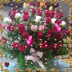 Flowers Gif, Exotic Flowers, Love Flowers, My Flower, Happy Birthday Flower, Happy Birthday Greetings, Birthday Wishes, Anniversary Greetings, Anniversary Flowers