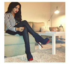 striped blouse, leather leggings, black or red booties