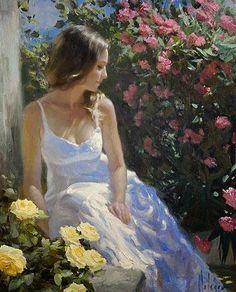 flores-con-mujeres-en-jardines-pintadas-con-oleo