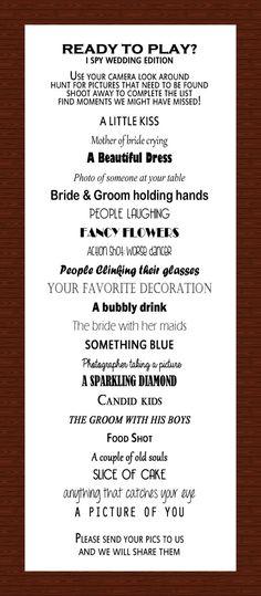 I SPY Wedding Reception Game por InnovativeGoodies en Etsy