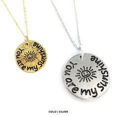 You Are My Sunshine Engraved Pendant Necklace