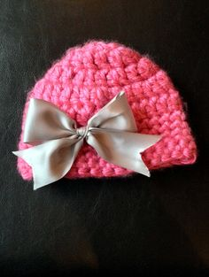 baby girl winter hat with bow