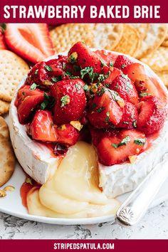 Roasted Strawberry Baked Brie {sponsored} | Baked Brie Easy | Baked Brie Recipes | Brie Appetizer | Brie Recipes | Strawberry Recipes | Strawberries | Easy Appetizers For a Party | Appetizers Easy | Spring Recipes | #stripedspatula #strawberry #strawberries #strawberryseason #cheese #appetizer #brunch #easterrecipes #holidayrecipes via @stripedspatula
