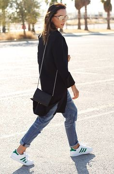 #classiccasual denim, adidas sneakers and black with chain bag