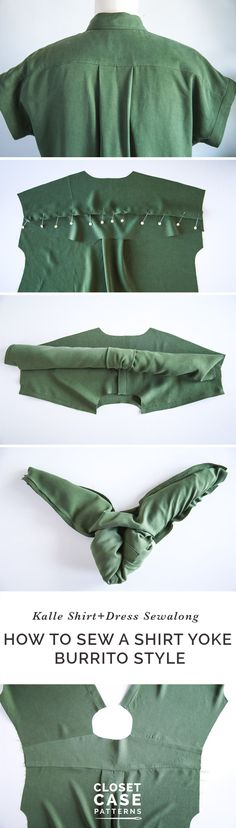Sewing Techniques Couture - How to sew a shirt yoke using the simple burrito method for a totally clean finish on the inside. Sewing Basics, Sewing Hacks, Sewing Tutorials, Sewing Patterns, Sewing Tips, Dress Patterns, Dress Tutorials, Coat Patterns, Clothes Patterns