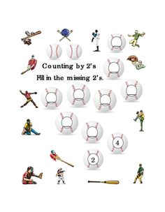 Kindergarten+Math+Counting+by+2's.+Numbers+Up+to+20,+Spring,+Baseball,+Printable,+Tools+for+Common+Core.+1+page.+