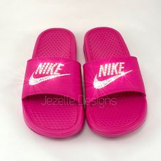 🏝 Summer slides in all of your favorite colors 💖 adorned with Swarovski Crystals 💎 by Jezelle Designs! White Nike Shoes, Nike Tennis Shoes, Adidas Shoes Women, Nike Slides Mens, Pink Nike Slides, Nike Slide Sandals, Shoes Sandals, Nike Benassi Slides, Jordan Shoes For Women