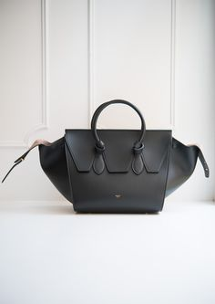 Black Smooth Tie Handbag available in store Leam Roma