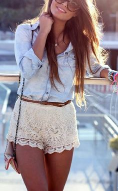 womens fashion gotta love lace shorts | Download the app for the fashionista on the go at http://app.stylekick.com