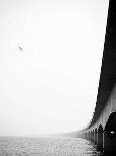 *black and white photography, bridge, water* Storebelt © Bjørgulf Brevik