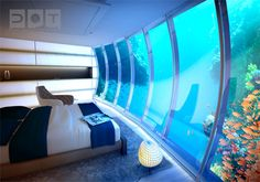 Not exactly the cheapest hotel in Dubai, the Water Discus is nevertheless the most unique. As the world's biggest underwater hotel, it's also the only Dubai hotel that offers views of the ocean floor! Dubai Hotel, Hotel Subaquático, Dubai Uae, Visit Dubai, Underwater Hotel Room, Underwater Sea, Underwater Restaurant, Underwater Theme, Themed Hotel Rooms